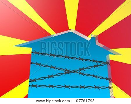 barbed wire closed home icon textured by macedonia flag
