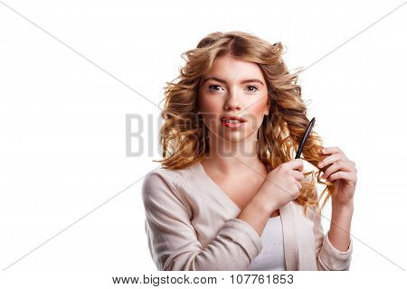 Girl With Curly Hair Combing Their Comb.