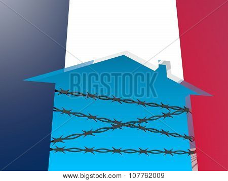 barbed wire closed home icon textured by france flag
