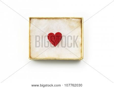 Gift of love. hearty gift. A golden box with an red heart inside.