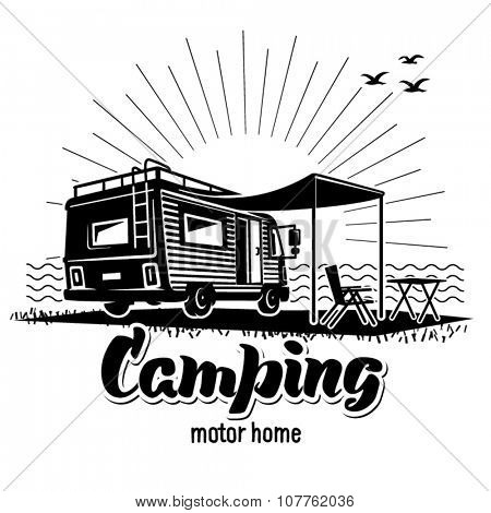 Camping. Recreation with family. Illustration in the engraving style