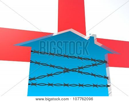 barbed wire closed home icon textured by england flag