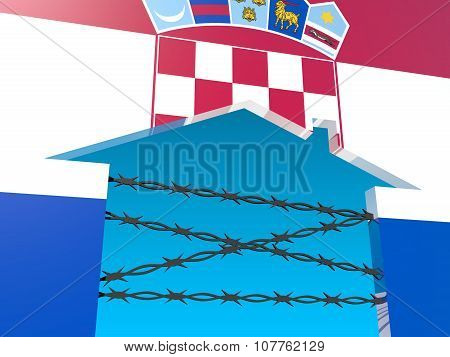 barbed wire closed home icon textured by croatia flag