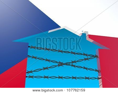 barbed wire closed home icon textured by czech flag