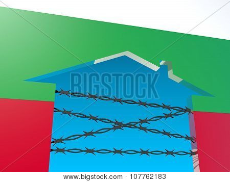 barbed wire closed home icon textured by bulgaria flag