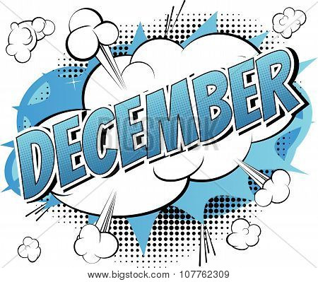 December - Comic book style word