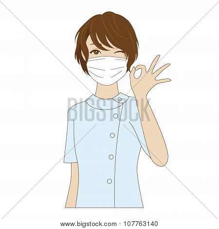 Dental Assistant Posing With Ok Sign