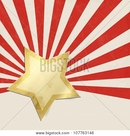 Red starburst background with gold star - abstract Christmas background