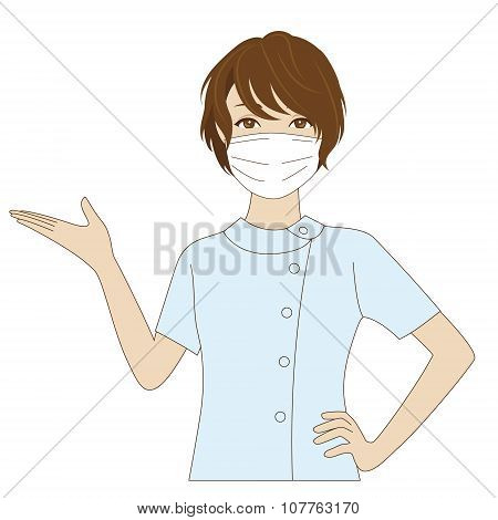 Female Dental Assistant Putting Her Palm Up