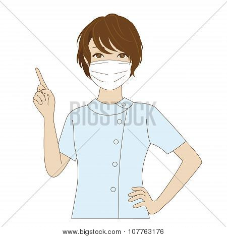Dental Assistant Pointing Up