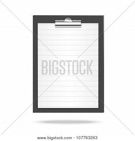 Clipboard and lined leaf of paper