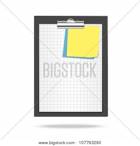 Clipboard, leaf of squared paper and note papers