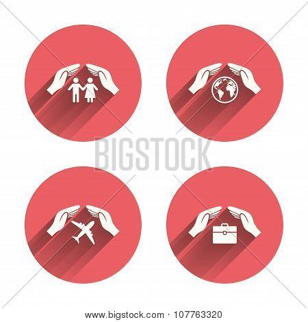 Hands insurance icons. Human life-assurance.