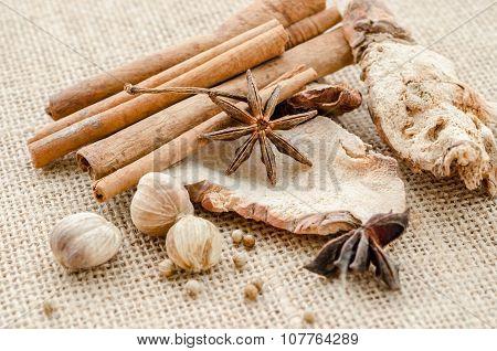 Anise, Cardamom, Nutmeg And Cinnamon Sticks.