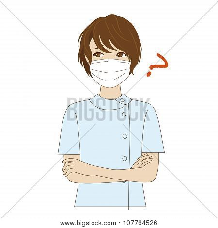 Thinking Female Dental Assistant
