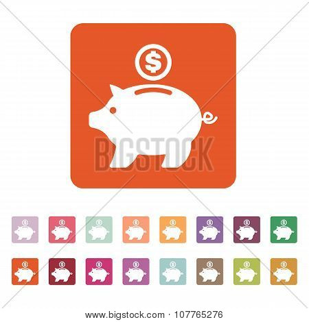 The moneybox icon. Cash and money, wealth, savings symbol. Flat
