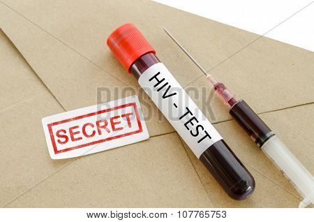 Secret Result Diagnosis HIV Test Concept.
