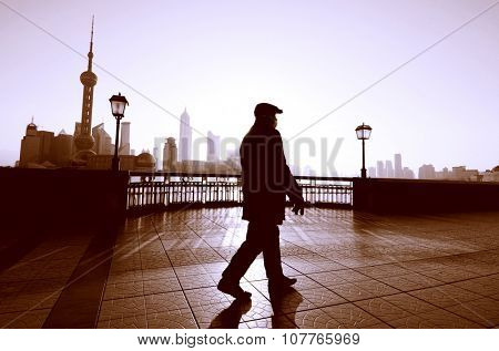 Man Walking Shanghai China Street Solitude Building Concept
