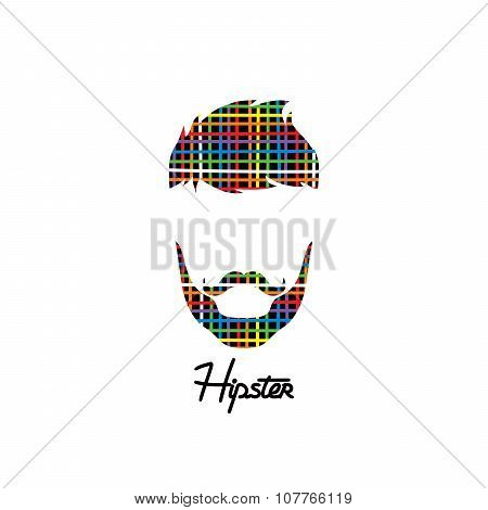 Retro Hipster Guy Colorful Line