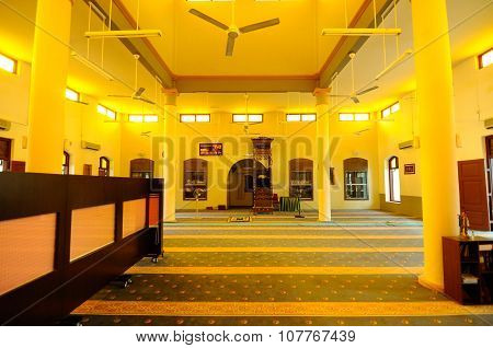 Interior of the Kampung Paloh Mosque in Ipoh, Malaysia