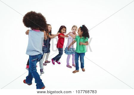 Smiling girls all holding each others shoulders against a white background