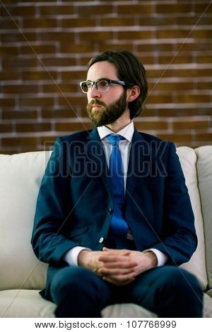 Businessman sitting on the couch at home in the living room