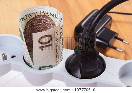 Electrical Power Extension With Connected Plug And Polish Currency Money, Energy Costs