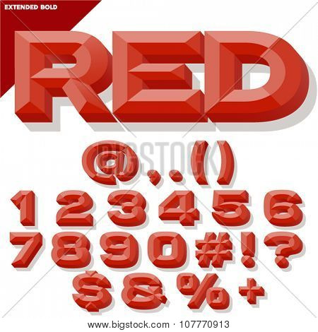 Vector 3D red set of bold beveled numbers and symbols with shadow. Simple colored version.