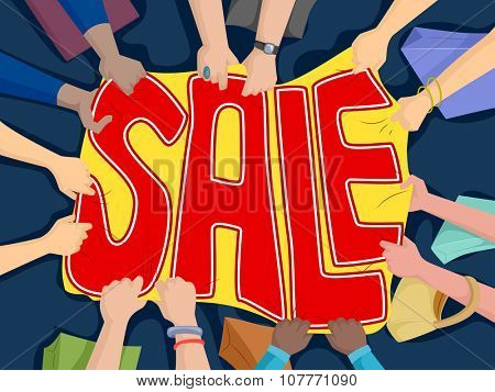 Illustration of People Pulling on a Banner with the Word Sale Written on It