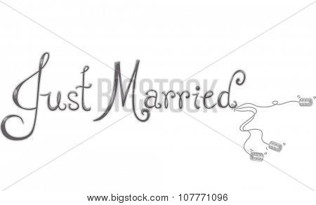 Illustration Featuring Tin Cans Dangling from the Words Just Married