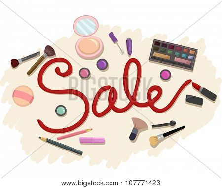 Illustration Featuring Cosmetics Surrounding the Word Sale