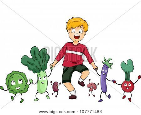 Illustration of a Little Boy Walking Together with Vegetable Mascots