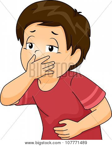Illustration of a Little Boy About to Throw Up Covering His Mouth