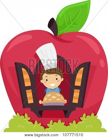 Stickman Illustration of a Little Boy Showing the Apple Pie He Baked
