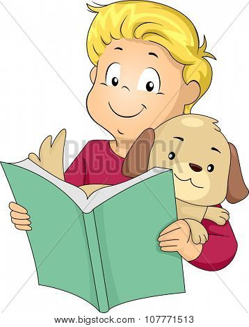 Illustration of a Little Boy Reading a Book to His Pet Dog