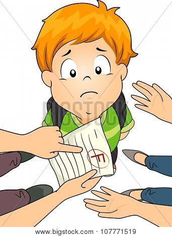Illustration of a Little Boy Being Scolded by His Parents Over His Failing Grade