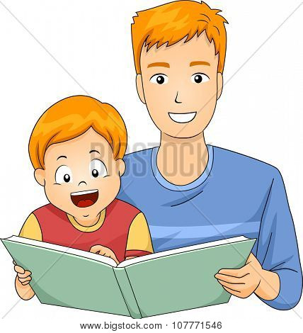 Illustration of a Father Reading a Storybook to His Son