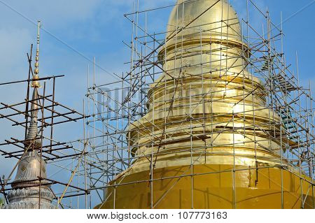 Scaffold Structure In Construction Site Between Renovate Golden Pagoda In Chiangmai Thailand