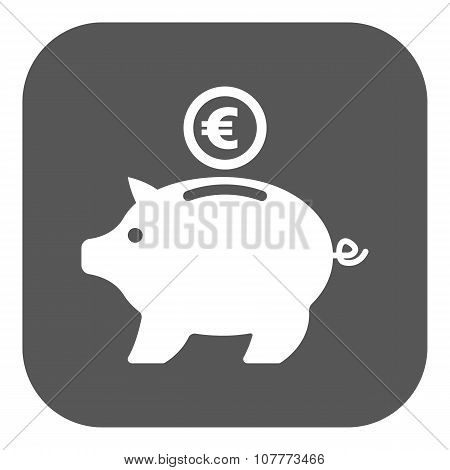 The moneybox and euro icon. Cash and money, wealth, savings symbol. Flat