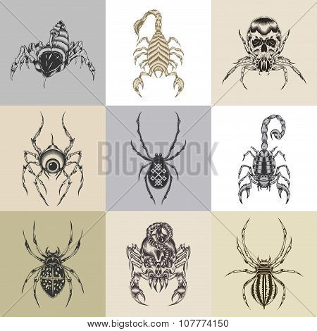 Set of nine tattoo illustration.