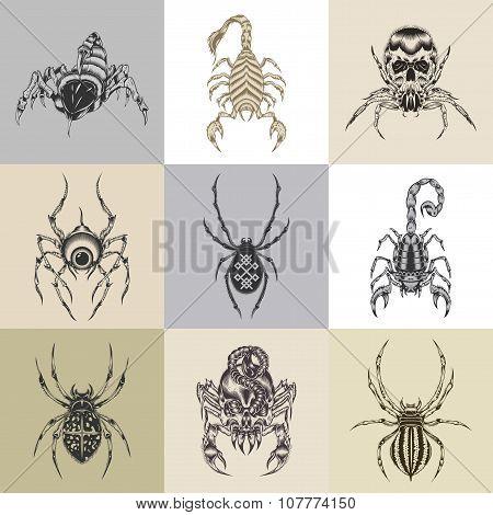 Set of nine tattoo illustration.
