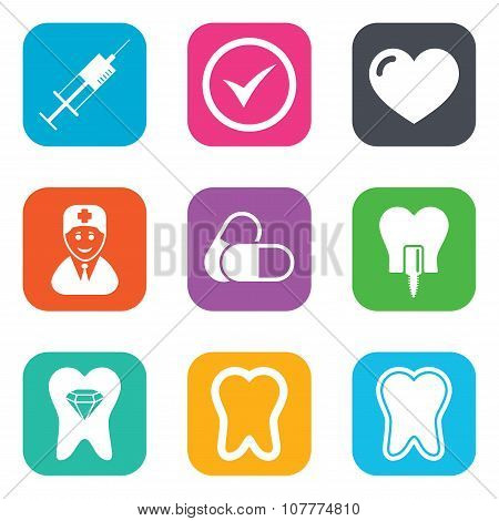 Tooth, dental care icons. Stomatology signs.