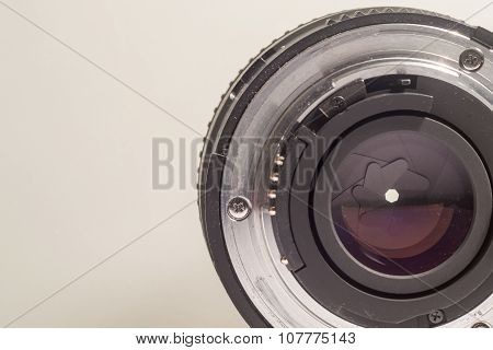Closeup Of The Open End Of A Camera Lens