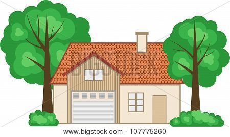 Flat style family house. Vector illustration