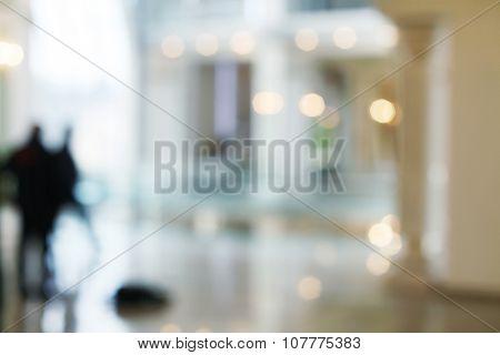 De-focuses business center interior. Blur background.