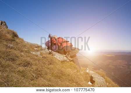 A Woman With A Backpack Resting On A Rock.