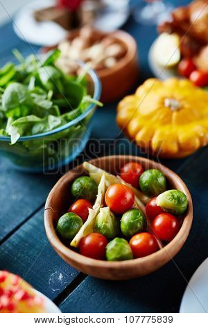 Fresh vegetables on served table