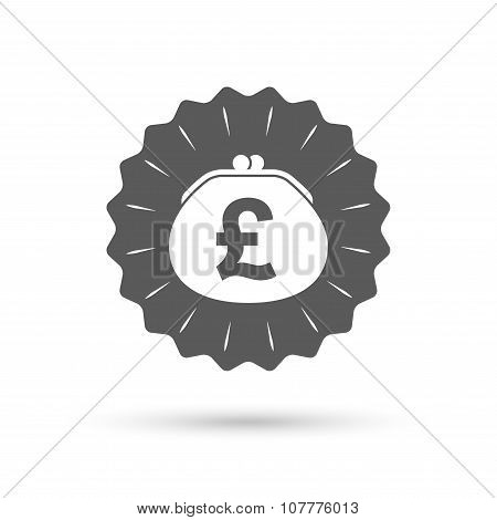 Wallet pound sign icon. Cash bag symbol.