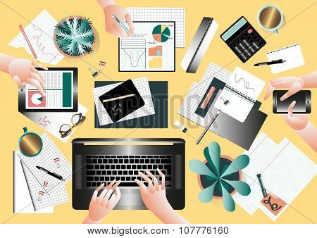 Creative team desktop top view with people working together in modern style