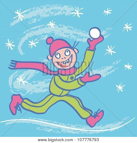 Child Rejoices In The Winter. Vector Illustration